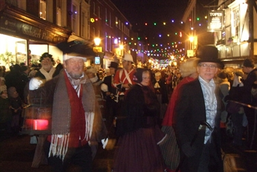 Dark sky, Christmas lights in the High Street, visitors dressed in Victorian costumes
