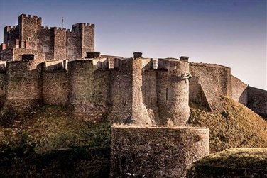 Image of Dover Castle, English Heritage, showing a medieval castle