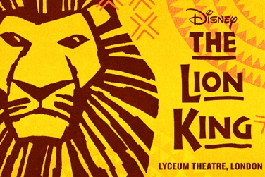 Lion King logo, yellow background, brown illustration of a lion