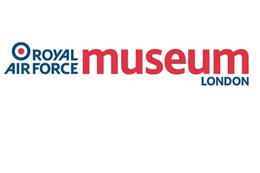 Royal Airforce Museum London Logo, white background with blue and red text