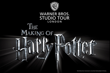 Black background with silver writing, Warner Bros Studio Tour logo, The Making of Harry Potter.