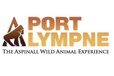 Port Lympne Logo, white background with brown to dark yellow writing