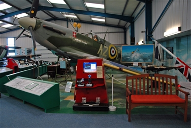 Spitfire MK V8 aircraft with information stand and computer simulation